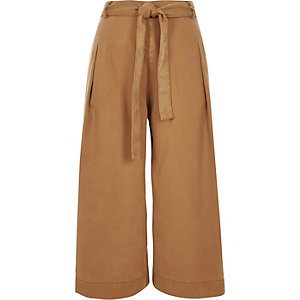 Light brown belted culottes