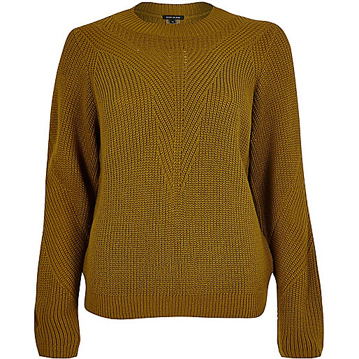 Dark yellow knitted zip back sweater