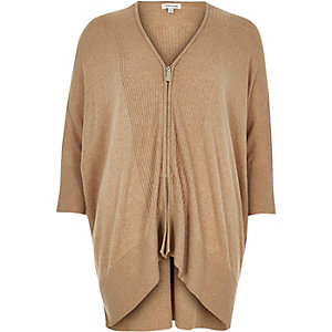 Camel knitted zip-up cardigan