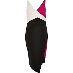 Black colour block wrap bodycon dress