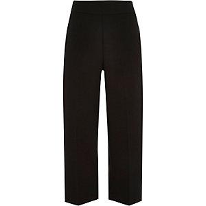 Black cropped wide leg pants