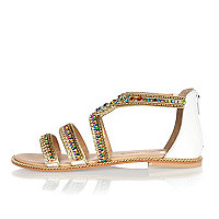 White leather bead embellished sandals