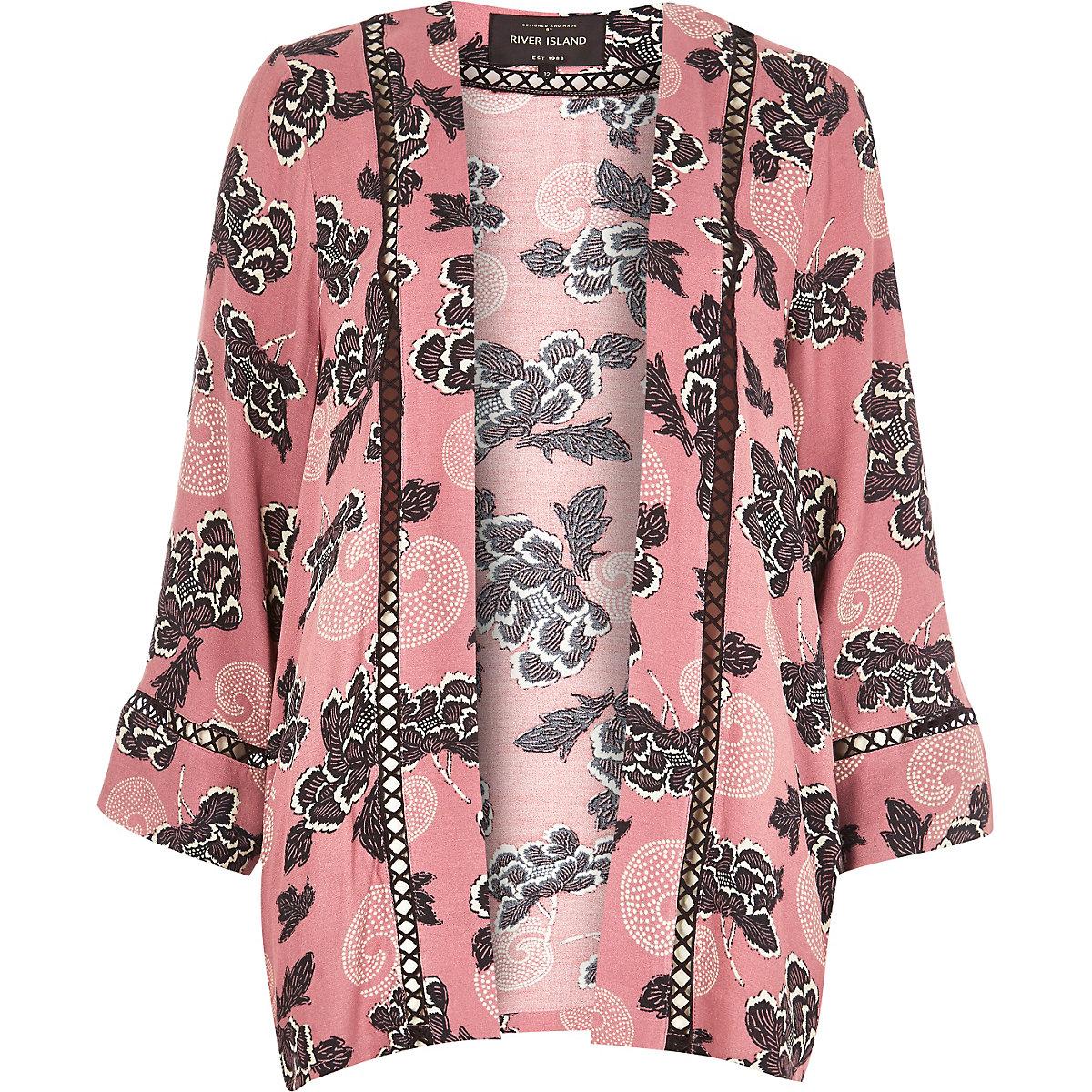 Tops Kimono Kimonos Femme Rose Imprimé Fleuri Veste Xhpitet SjMVzLqUpG