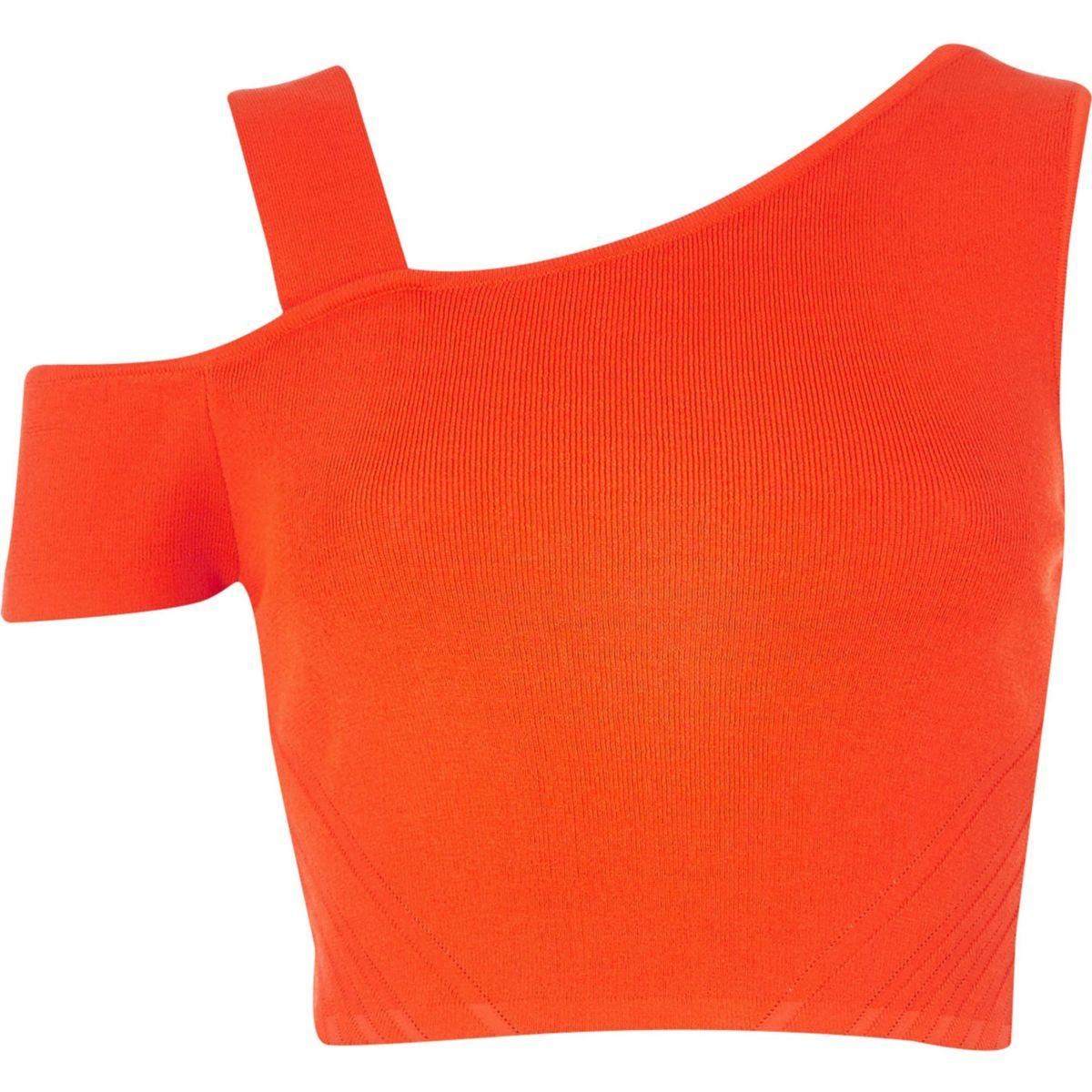 Red asymmetric cold shoulder crop top