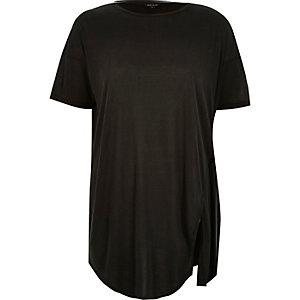 Dunkelgraues, seitlich geschnürtes T-Shirt
