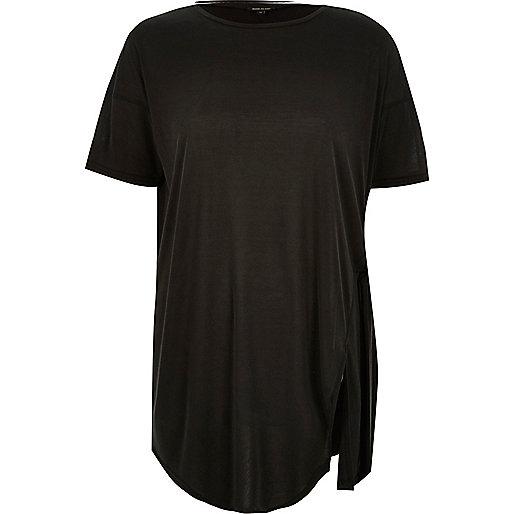 Dark grey tie side t-shirt