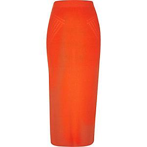 Red knit side split midi skirt