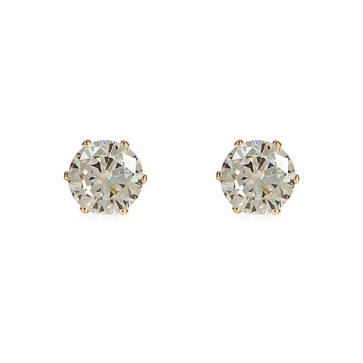 Gold tone large diamond stud earrings