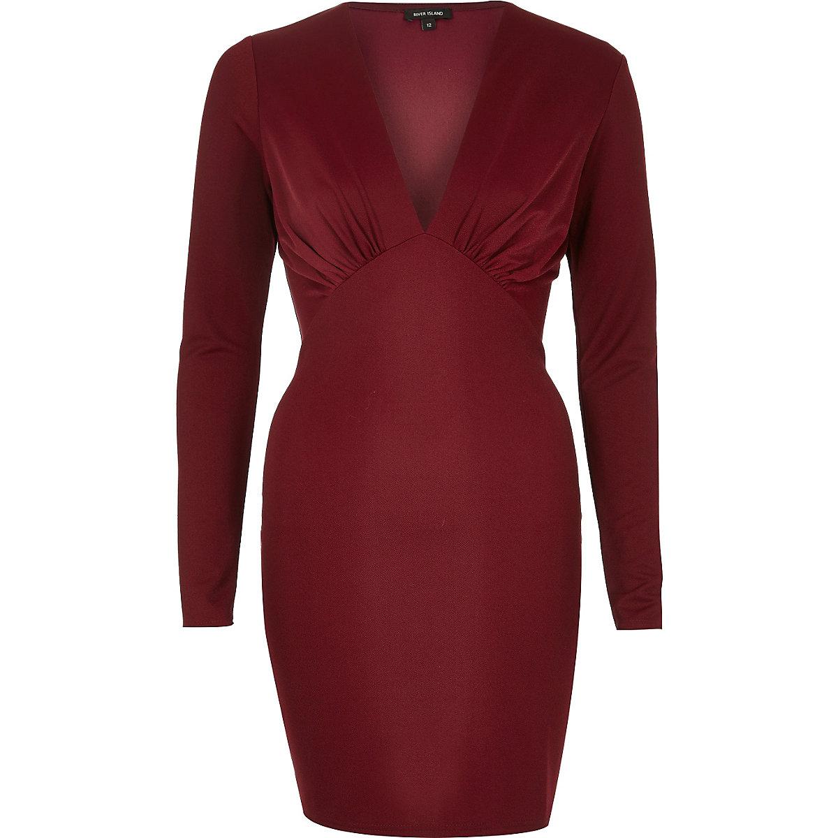 Dark red plunge bodycon mini dress