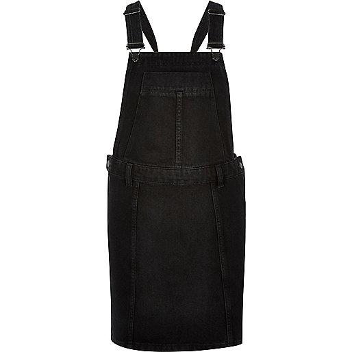 Robe salopette noire en jean