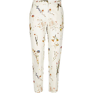 White floral print slim trousers