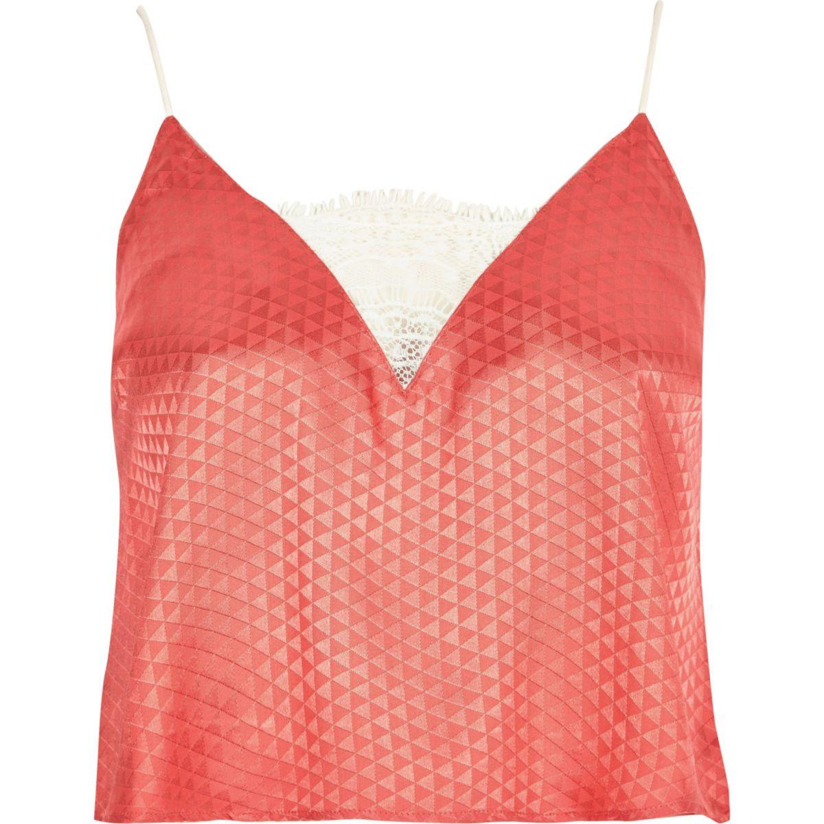 Pink jacquard cami pyjama top
