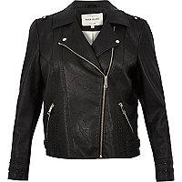 RI Plus leather look biker jacket