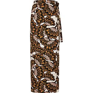 Orange floral print wrap maxi skirt