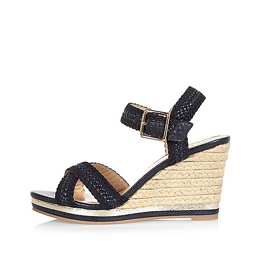 Navy woven wedges
