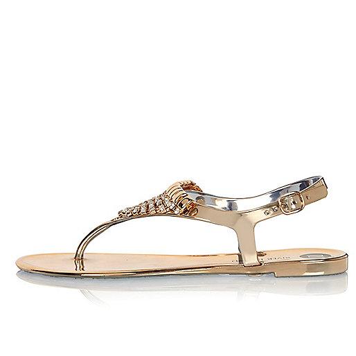 Gold embellished jelly sandals