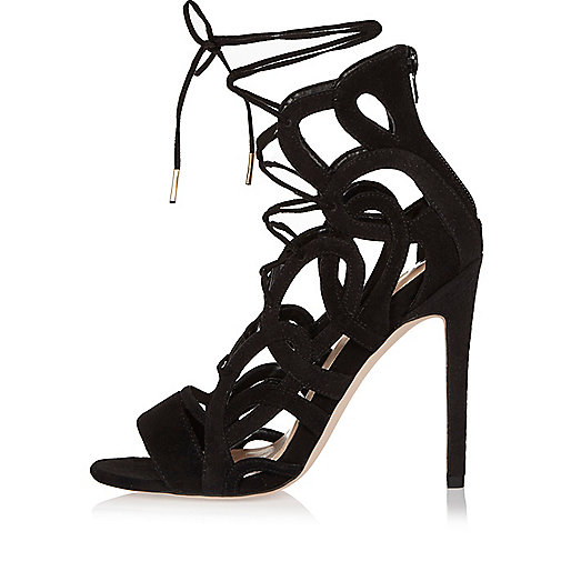Black lace-up caged heels