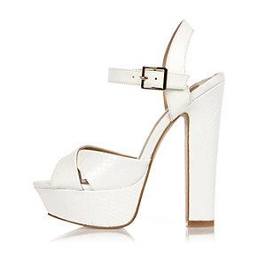 White platform heel sandals