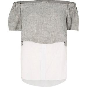 Grey double layer bardot top