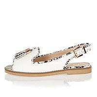 White peep toe slingback sandals