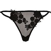 Zwarte onderbroek met bloemenapplicatie