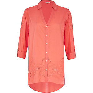 Coral cutwork shirt