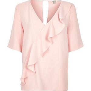 Light pink frill front t-shirt