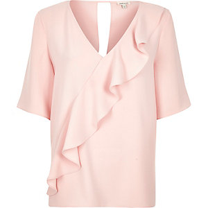 Light pink frill front t-shirt