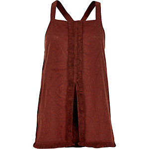 Rust fringed tank top