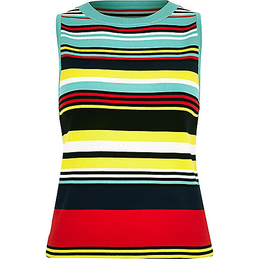 Blue knit stripe sleeveless top