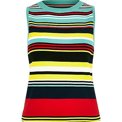 Blue knit stripe sleeveless top