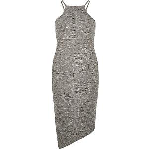 Grey bodycon asymmetric dress