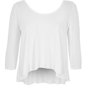 White scoop neck swing top