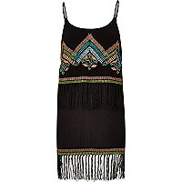 Black embroidered fringe dress