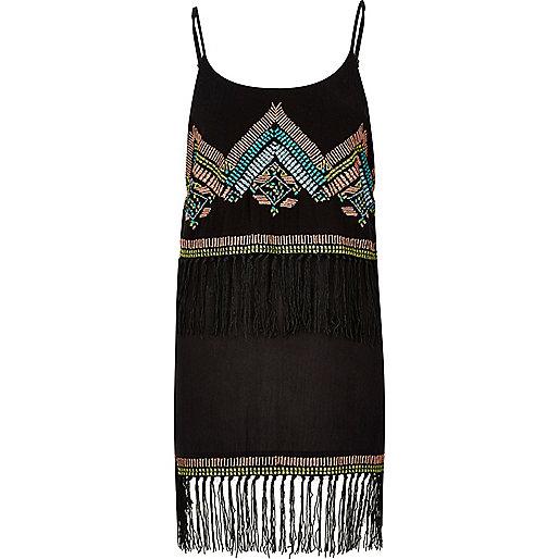 Black embroidered fringe dress