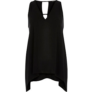 Black hanky hem sleeveless top