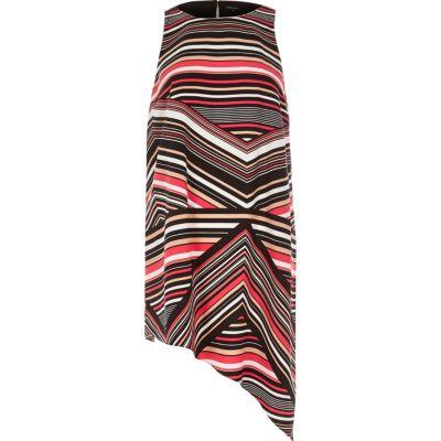 Roze asymmetrische top met zigzag-dessin