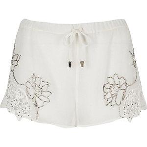 White embellished shorts