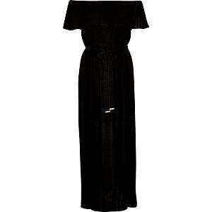 Robe longue noire style Bardot