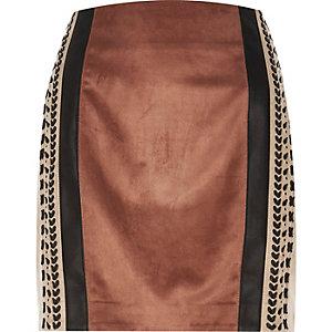 Brown block whipstitch pelmet skirt