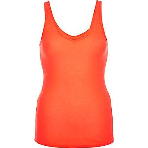 Bright coral deep V-neck vest