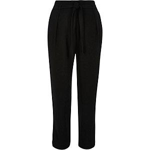 Black soft tie waist tapered pants