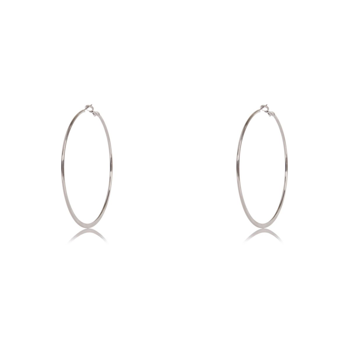 Silver tone hoop clip earrings