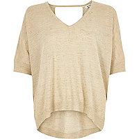 Leinen-T-Shirt in Creme