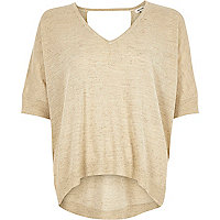 Cream knit linen V neck T-shirt
