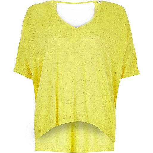 Bright yellow slub linen t-shirt