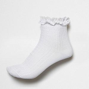 Witte sokken met ruches