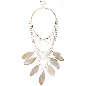 White feather bib necklace