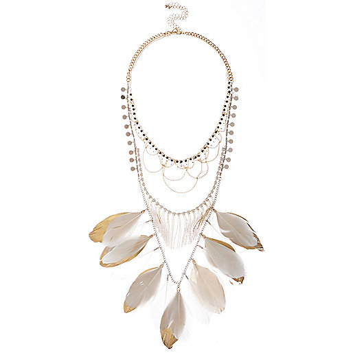 White feather bib necklace