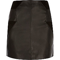 Black patchwork mini skirt